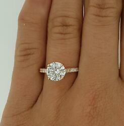 2.05 Ct Pave 4 Prong Round Cut Diamond Engagement Ring Si2 F Rose Gold 18k