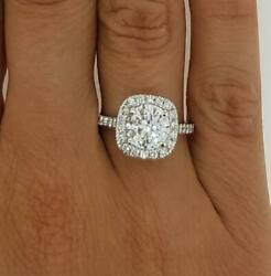 2.05 Ct Halo Pave Round Cut Diamond Engagement Ring Si2 F White Gold 18k