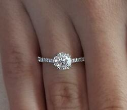 1.2 Ct Double Claw Pave Round Cut Diamond Engagement Ring Vvs2 F White Gold 14k