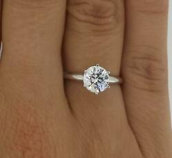 1 Ct Classic 6 Prong Round Cut Diamond Engagement Ring Vs2 H Certified 14k