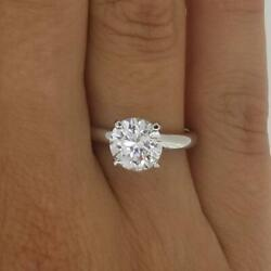 1.75 Ct 4 Prong Solitaire Round Cut Diamond Engagement Ring Vs1 F White Gold 14k