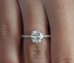 1.5 Ct Pave 4 Prong Round Cut Diamond Engagement Ring Vs2 G Certified 14k