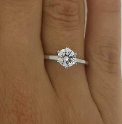 1.5 Ct Classic 4 Prong Round Cut Diamond Engagement Ring Si1 D White Gold 14k
