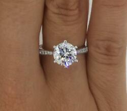 2 Ct Pave 6 Prong Round Cut Diamond Engagement Ring Si2 D White Gold 14k