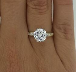 1.75 Ct Pave 6 Prong Round Cut Diamond Engagement Ring Si1 F Yellow Gold 18k
