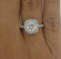 1.97 Ct Pave Halo Round Cut Diamond Engagement Ring Si1 F White Gold 18k