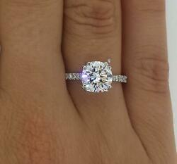 2.05 Ct Double Claw Pave Round Cut Diamond Engagement Ring Si2 D White Gold 14k