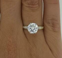 1.5 Ct Pave 6 Prong Round Cut Diamond Engagement Ring Si1 D Yellow Gold 18k