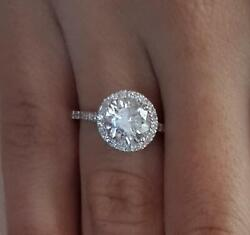1.7 Ct Cathedral Pave Round Cut Diamond Engagement Ring Si1 F White Gold 14k