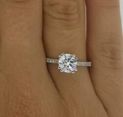 1.5 Ct Double Claw Pave Round Cut Diamond Engagement Ring Vs2 H White Gold 14k