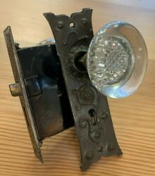 Antique Mortise Lock With Glass Knobs And Embossed Plates