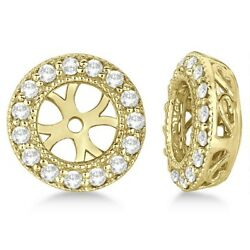 0.27ct Antique Inspired Vintage Round Diamond Earring Jackets 14k Yellow Gold