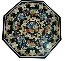 36'' Black Marble Side Dinner Table Top Multi Fruits Inlaid Kitchen Decor B271