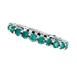 2.00ct Fancy Blue Diamond Eternity Band Stackable Ring 14k White Gold Women Si