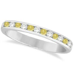 0.33ct Channel-set Yellow Canary And White Round Diamond Ring Band 14k White Gold