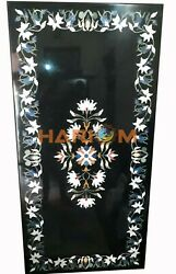 4and039x2and039 Black Marble Dining Table Top Marquetry Floral Inlaid Outdoor Decor B278