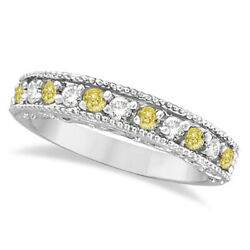 0.50ct Fancy Yellow Canary And White Diamond Ring Band Stacking 14k White Gold