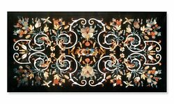 4and039x2and039 Birds With Floral Semi Pietradura Marble Table Dinner Top Inlay Decor B282