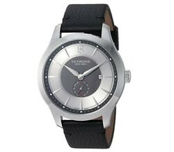Victorinox Swiss Army Menand039s Watch Alliance Grey And Black Dial Leather Strap