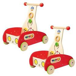 Hape Toys Toddler Baby Push And Pull Toy Wonder Walker Cart With Blocks 2 Pack