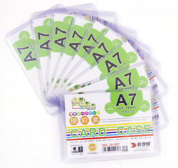 10 Pcs Protective Sleeve Clip Card Photo Files Holder Clear Hard Plastic A7