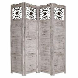 Wooden 4 Panel Screen With Textured Panels And Scrolled Details White