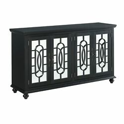 Trellis Front Wood And Glass Tv Stand With Cabinet Storage, Black