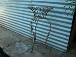 Vintage Daisy Shaped Metal Wire Plant Stand