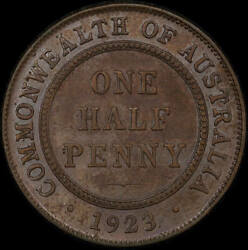1923 Halfpenny About Vf