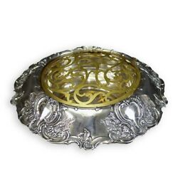Sterling Centerpiece Bowl With Gilt Brass Flower Frog.