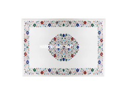 Marble Dining Side Table Top Multi Marquetry Art Inlay Hallway Decoration H3038