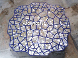 Seashell Art Marble Corner Table Top Inlay Outdoor Decor And Free Jewelry Box Gift