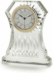 New Waterford Clear Crystal Cut Glass,gold Accent Clock Figurine Paper Weight