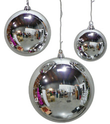 5in Large Shiny Silver Christmas Ball Ornaments Shatterproof Plastic 140mm