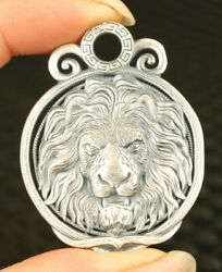 34g Solid S99 Silver Hand Carved Lion King Statue Pendant Netsuke Necklace