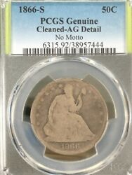 1866-s Liberty Seated Half Dollar No Motto Silver Coin Pcgs Ag Details [444]