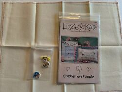 Lizzie Kate Cross Stitch Chart Children Are People W fabric amp; 3 Adorable Buttons $18.99