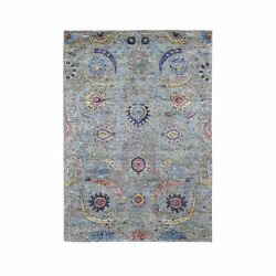 4'2x6' Hand Knotted Sickle Leaf Design Silk With Textured Wool Rug R48905