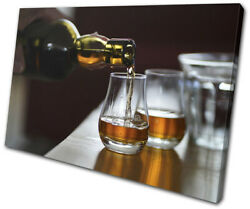 Whisky Bourbon Drink Bar Food Kitchen Single Canvas Wall Art Picture Print