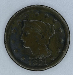 1c One Cent Penny 1851 Vf/ef Liberty Matron Coronet Head Large Chocolate Brown