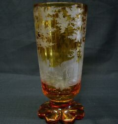 1880s Antique Amber Bohemian Czech Cut Glass Vase Engraved Deer And Trees