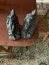 J. Ruhl Bronze Sculpture Bookends Art Deco Naked Woman On Rocks And Sea