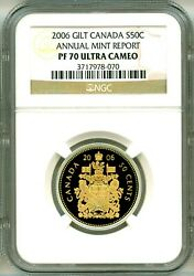 2006 Canada S50c Rare Coat Of Arms Annual Mint Report Ngc Pf70 Ultra Cameo