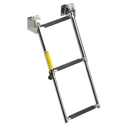 Garelick 19683 Telescoping Transom Boarding Ladder 3 Step Fold Down Stainless