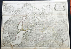 1758 D Anville Very Large Antique Map Of Norway Sweden Iceland Baltics And Russia