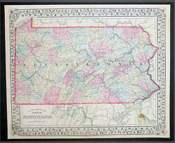 1870 Samuel Augustus Mitchell County Antique Map Of The State Of Pennsylvania