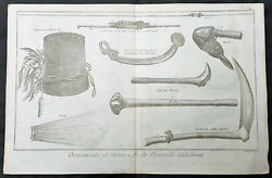 1778 Capt Cook Visits New Caledonia In 1774 - Antique Print Tools, Weapons, Hats