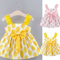 Toddler Baby Girls Kids Strap Dot Print Summer Dress Princess Casual Dresses $9.48