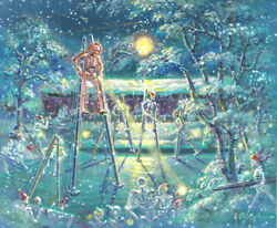 Red Skeleton Stilts Skating Painting Cabin Moon Pond Ice Skate Michael Young Art