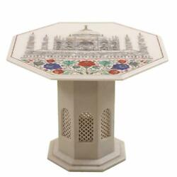 24 Marble Coffee Table Handmade Inlay Semi Precious Stones With Marble Stand